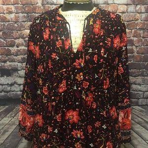Old Navy Sz Lg Black Floral Tunic Dress